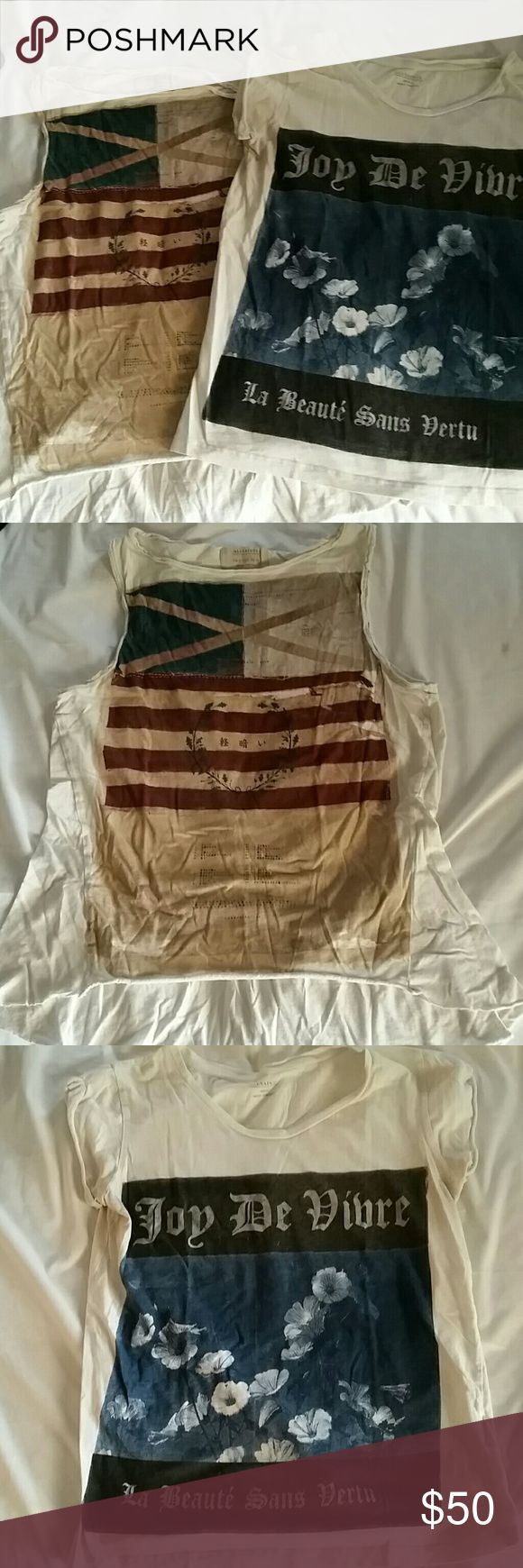 LOT of 2 Graphic All Saints Shirts Lightly used High low graphic tan All Saints tank, size 2. White graphic T shirt, size Small, has light tan deodorant stains. Still has a lot of life!! All Saints Tops Tank Tops