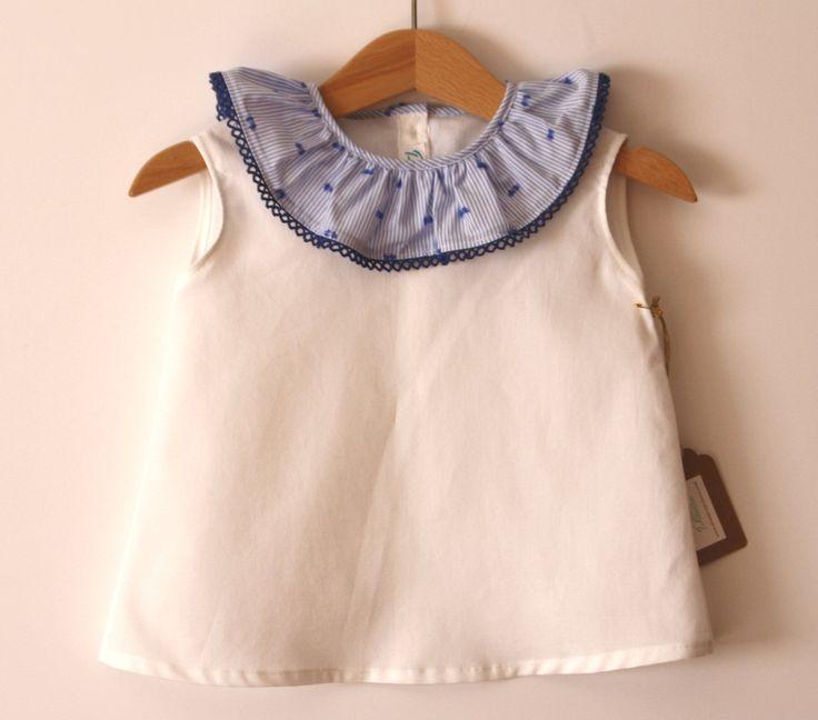 Blusa blanca sin mangas unisex cuello azul niño cuello volante verano niña de DonaPitoPiturra en Etsy