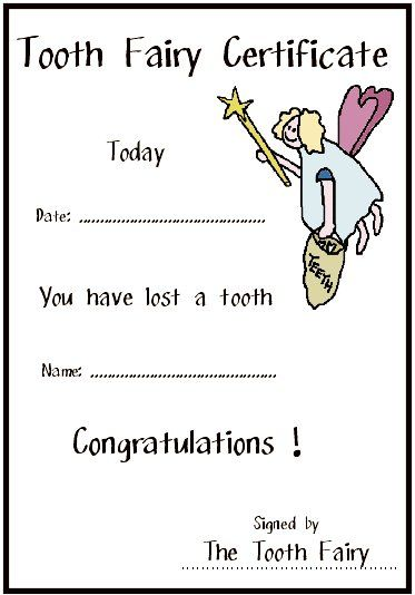 Printable Certificates Free Printable Tooth Fairy Certificates