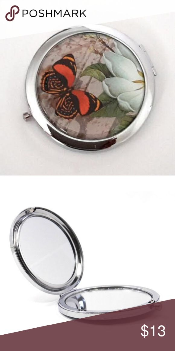 Magnified Graphic Compact Mirror ~ Butterfly Daisy Double-sided compact mirror w…