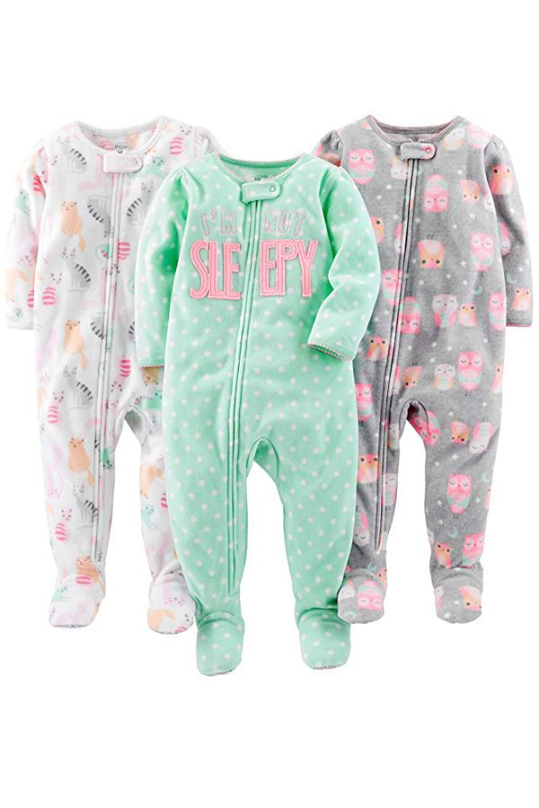 Simple Joys by Carters Baby-Girls 3-Pack Loose Fit Flame Resistant Fleece Footed Pajamas