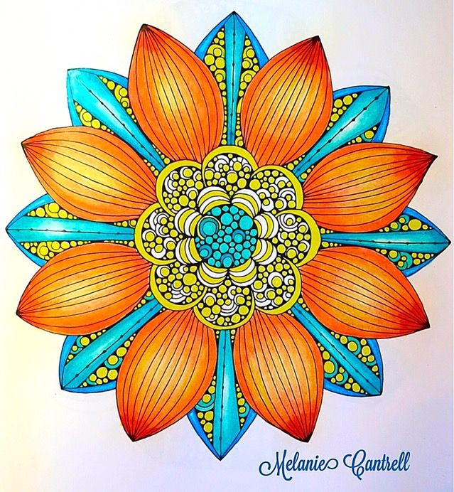 """Page from, Design Original's, """"Creative Coloring Mandalas"""" by Valentina Harper.  (Photo share only, no link to website.) Colored by Melanie Cantrell"""