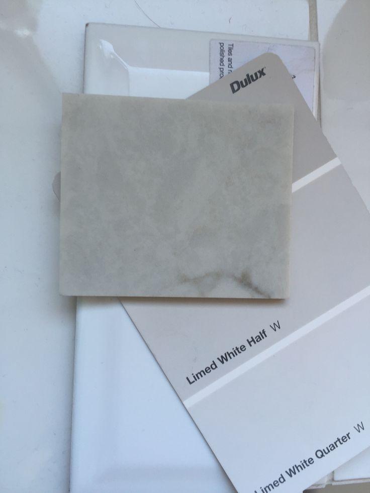 London grey caesarstone, limed white dulux, beveled edge subway tiles. Kitchen inspiration