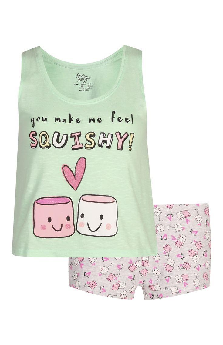 Pijama top de alças calções Marshmellow