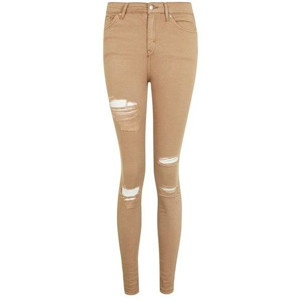 Topshop Moto Tan Super Rip Jamie Jeans ($55) ❤ liked on Polyvore featuring jeans, high-waisted jeans, ripped jeans, high waisted skinny jeans, denim skinny jeans and stretch skinny jeans