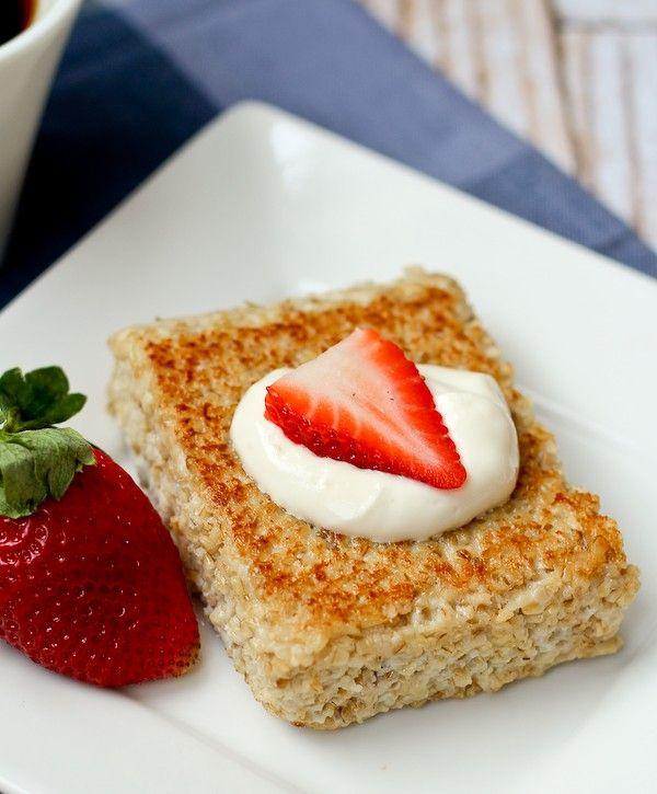 Pan Seared Oatmeal with Fresh Fruit and Yogurt - get the recipe on RachelCooks.com