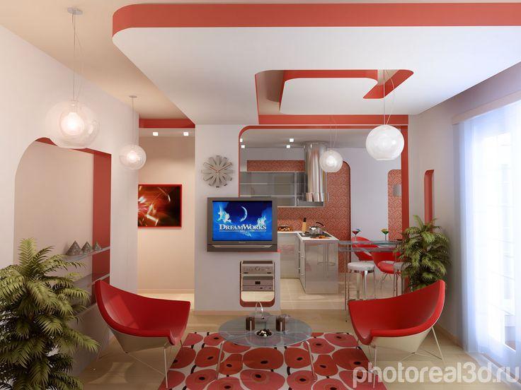 Визуализация интерьера для гостинной комнаты