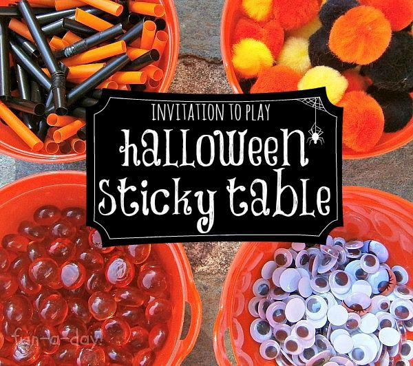 Invitation to Play & Create - Halloween Sticky Table Art