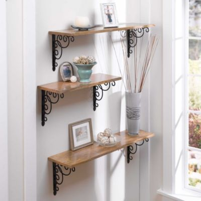wood shelf with brackets storage for small spaces