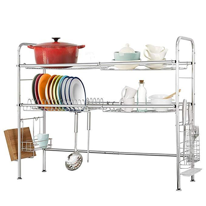 Dish Rack Dish Drainer Over Sink Large Kitchen Dish Drying Rack Stainless Steel For Kitchen Counter With Utensil Hol Dish Racks Dish Rack Drying Dish Drainers