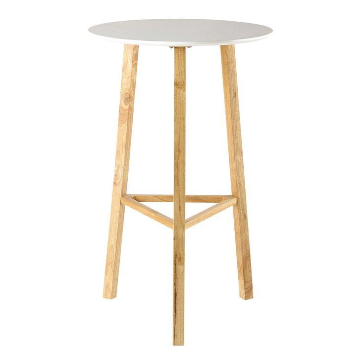 table ronde haute de salle manger blanche d 65 cm