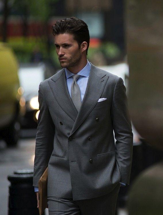 ダブルスーツ着こなしグレーのProper Cloth S/S 2013