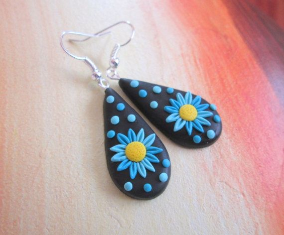 turquoise polymer clay earrings colorful flowers gift for mom filigree by FloralFantasyDreams