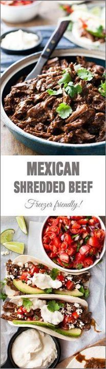Mexican Shredded Bee Mexican Shredded Beef - easy to make in...  Mexican Shredded Bee Mexican Shredded Beef - easy to make in the slow cooker on the stove or even in the oven! Recipe : http://ift.tt/1hGiZgA And @ItsNutella  http://ift.tt/2v8iUYW