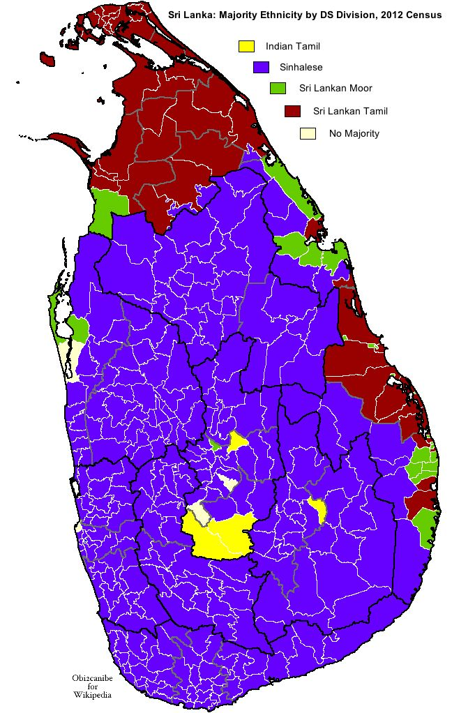 Ethnicity of Sri Lanka, from the 2012 census