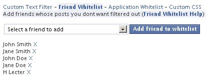 FB Puritys friends whitelist