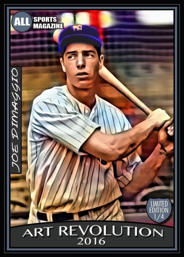 "ACEO JOE DIMAGGIO NYY 1/4 Limited Hand Paint ""Art Revolution"" Art Sketch Card #NewYorkYankees"