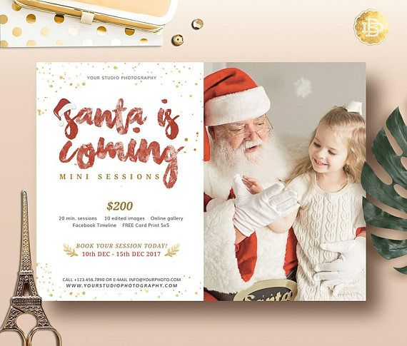 Christmas mini session template for photographer santa mini