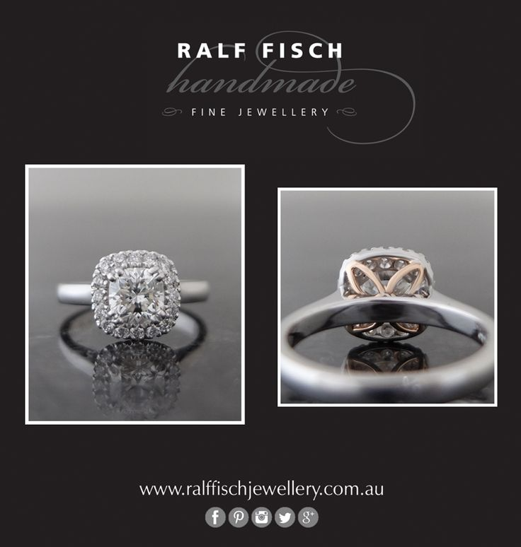 18ct white gold entirely handmade engagement ring with a brilliant cushion cut centre diamond framed by smaller round brilliant cuts. Note the delicate individual touch tucked away under the setting, in the form of rose gold marquise shaped details.