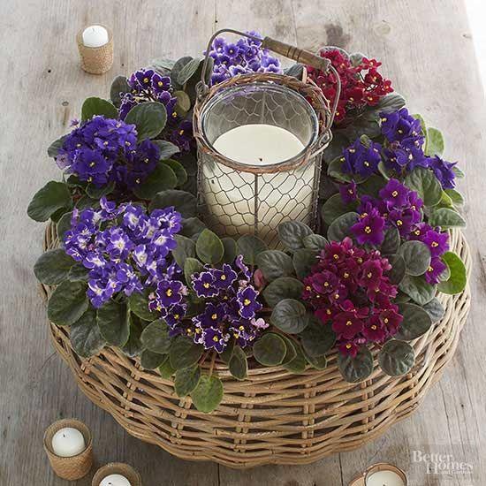 Vaso de violetas no cesto com vela no meio