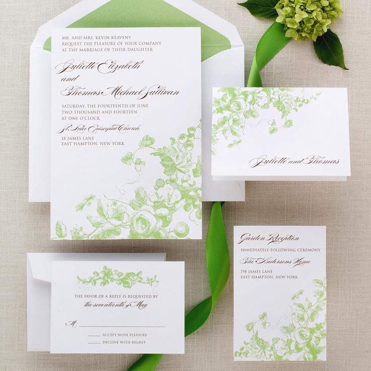 Antique Blossoms Wedding Invitation   #exclusivelyweddings   #limegreenwedding