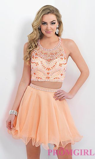 Two Piece Beaded Homecoming Dress by Blush at PromGirl.com