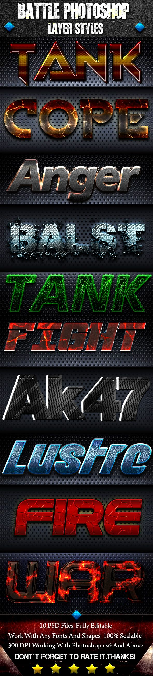 #Battle #Photoshop #Font Style - Text Effects Actions