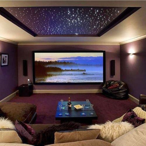 In-home movie room with star ceiling. Gorgeous! MUST have this in my home!