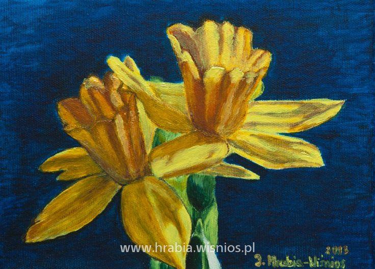 Żonkile 18x24 akryl, płótno, yellow, blue