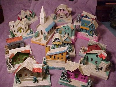 Antiques Attic: History of Dimestore Christmas Village Houses  The 1950-1955 Era Houses were made bigger