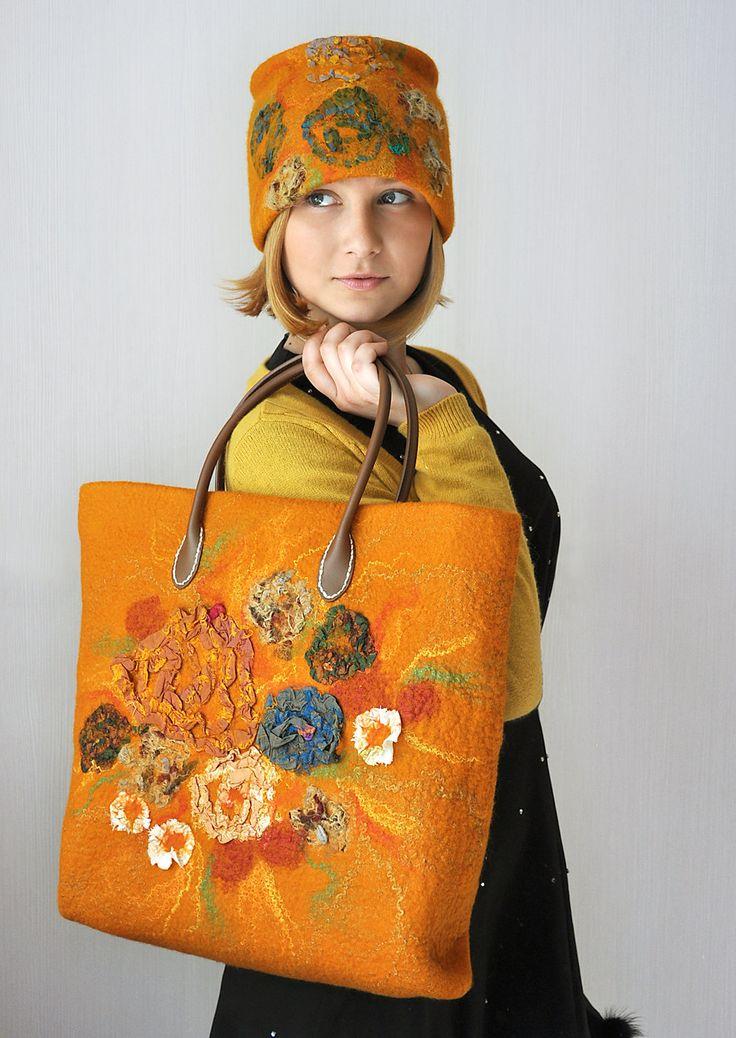 OOAK SET Nuno Felted Handbag AND Hat Fall Flowers by ShellenD
