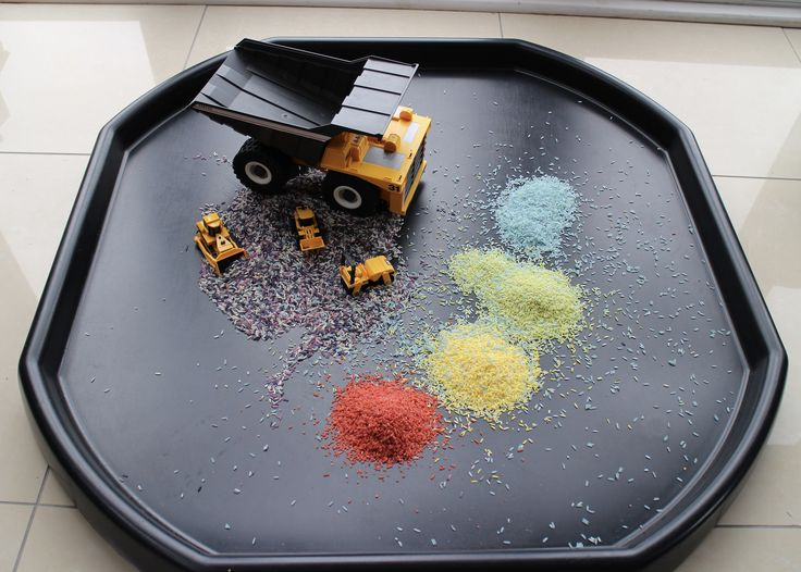 https://flic.kr/p/KKJzDH   Rainbow Rice in the Tuff Tray   Coloured rice and construction toys in a builders cement mixing tray
