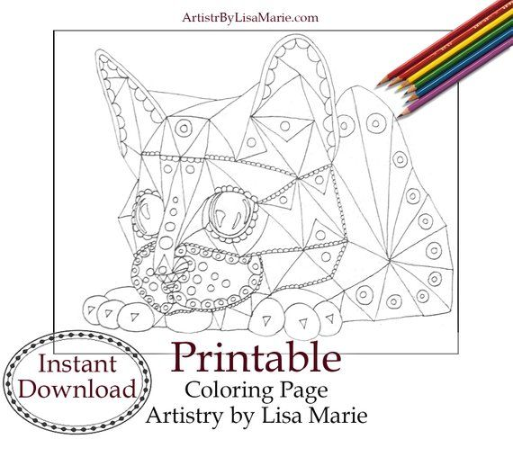 Coloring Sheet Geometric Cat Adult Coloring Page Instant