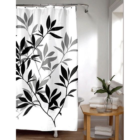 Check Out The Deal On Black And Gray Leaves Stall Size Fabric Shower Curtain  At BedBathHome