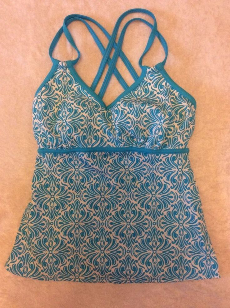 Lands End 2 Tankini Swimsuit Top Strappy Turquoise Modern Floral #LandsEnd #TankiniTop
