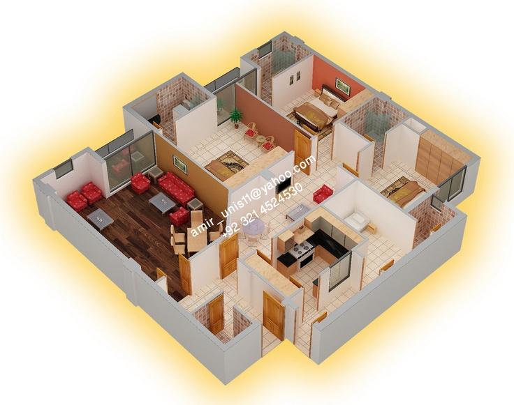 4 bedroom 3 5 bath unit by amir younis pakistan a d for Villa interior design in pakistan