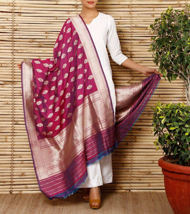 Purple Banarasi Silk Georgette Dupatta