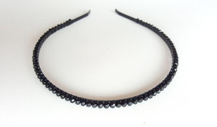 opaska ozdobna na głowę czarna - handmadebykicia - Opaski do włosów