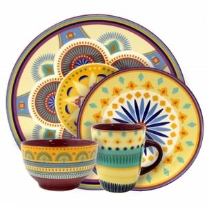 16 Piece Elama Puesta De Sol Everyday Deals ® A Trademarked Minnesota Company - Offers Stoneware Dinnerware Set Service for 4
