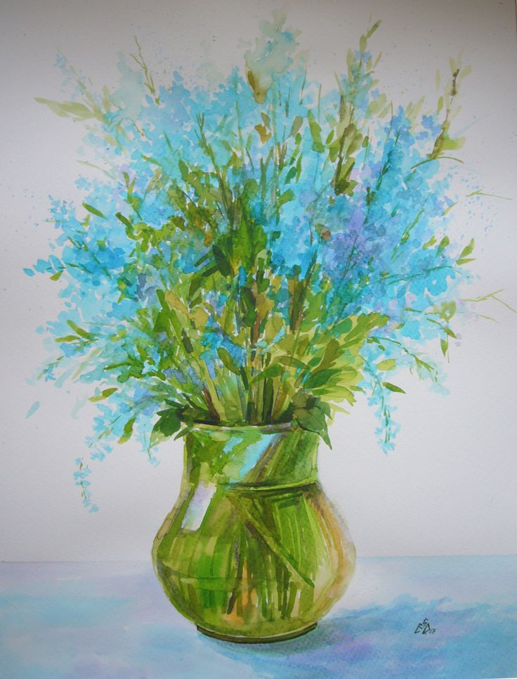 """""""Blue Bouquet 12"""",Watercolor by Gabriela Calinoiu.Romanian painter."""