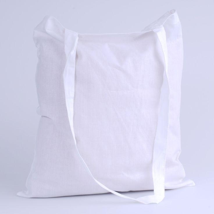 Katoenen zak 38 x 42 cm lang schouderlint wit -