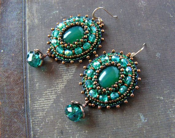 Emerald green Teal Earrings Beadwork Earrings Bead embroidery Earrings Green Copper Earrings Green Dangle Earrings Boho Ethnic MADE TO ORDER...