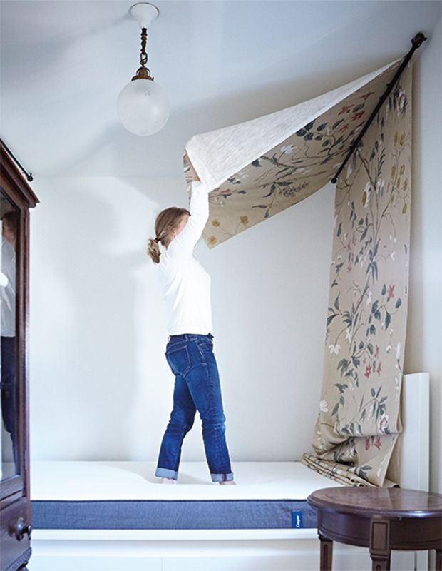 Bed Canopy No Nails : Best ideas about curtain rod canopy on bed