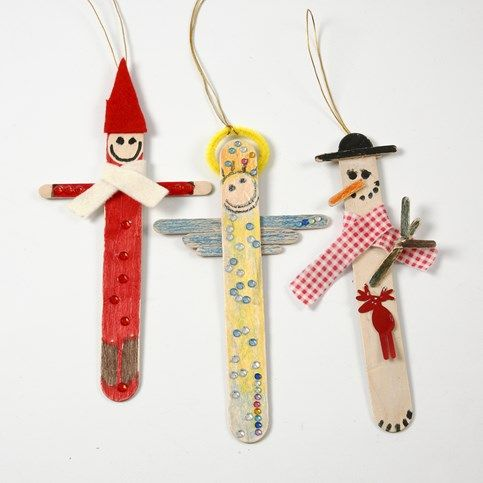 13376 Christmas Figures from painted and decorated Ice Lolly Sticks