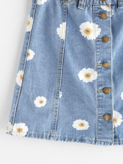 Single Breasted Daisy Print Denim Skirt
