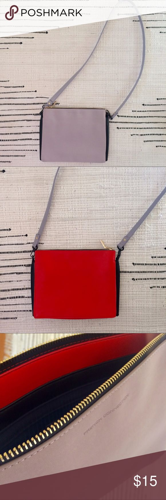 French Connection purse Color-clock cross body bag. Bright red leather, soft lavender suede like material and black accents. Zipper closure. Long detachable strap. French Connection Bags Crossbody Bags