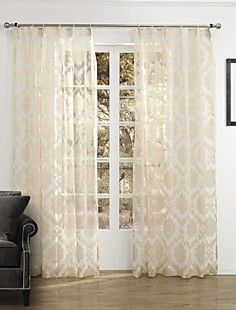 (Two Panels) Elegant Country Floral Arabesque Sheer Curtain – EUR € 42.97
