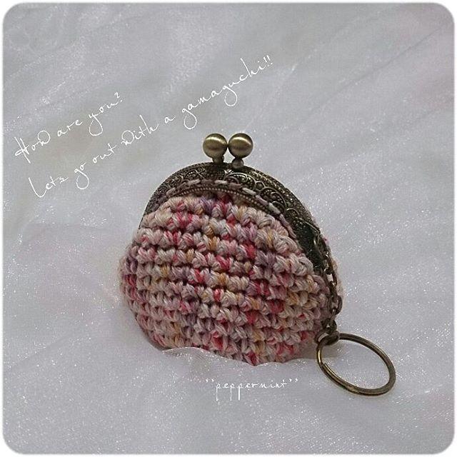 ピンクのがまがまは  女子力up♪    女子力関係ないやぁー  って思った  そこの貴方!!!! 関係なくはないのよ~。 詳しくは後日  ブログにアップするわ(^w^)** #crochet #coinpurse   #gamaguchi #crochetlove   #crochetcoinpurse #handmade