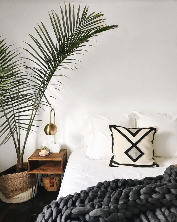 large plant, white walls, gold lamp, white sheets, large knit grey throw