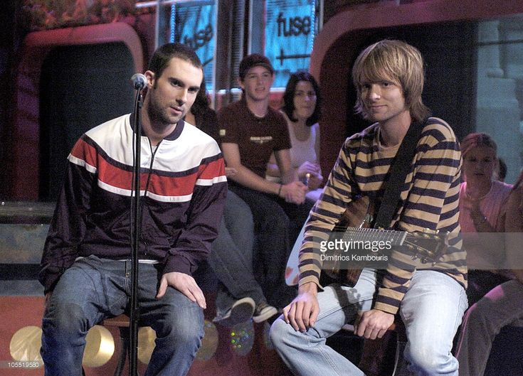 Adam Levine and James Valentine of Maroon 5 during Maroon 5 Visit Fuse's 'Daily Download' - August 19, 2004 at Fuse Studios in New York City, New York, United States.